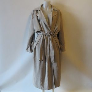 WOMENS ANNE KLEIN BEIGE BELTED TRENCH COAT SZ 8*